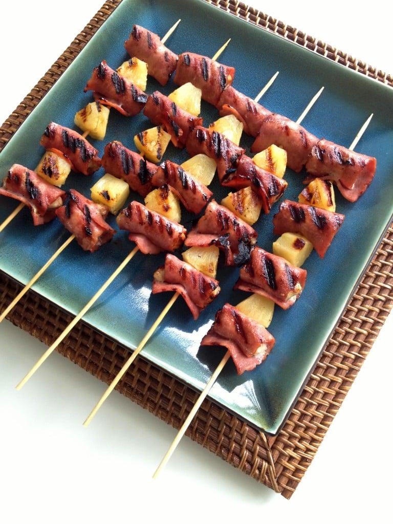 Bacon Wrapped Hawaiian Chicken Skewers