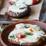 Portobello mushroom caps stuffed with marinara sauce, grape tomatoes, mozzarella and fresh basil.