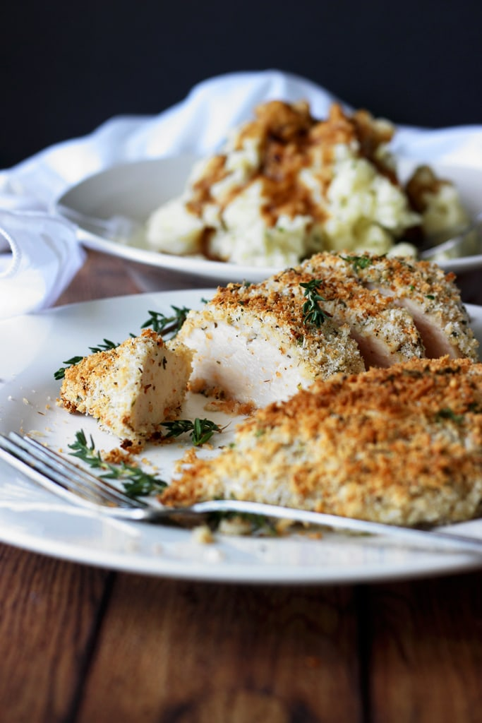 and herb crusted chicken breasts are baked in the oven with panko ...