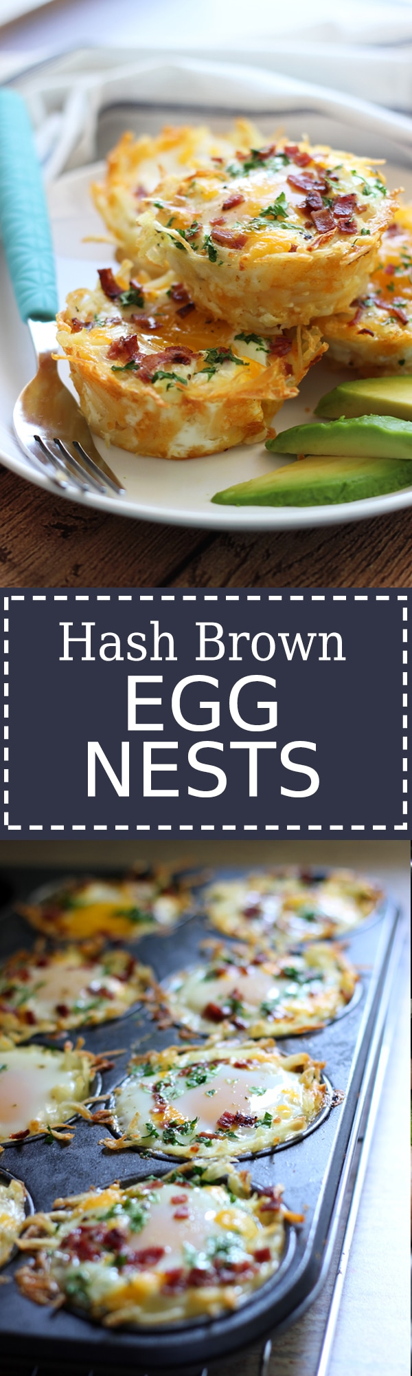 Shredded hash browns and cheese nests baked until crispy topped with a ...