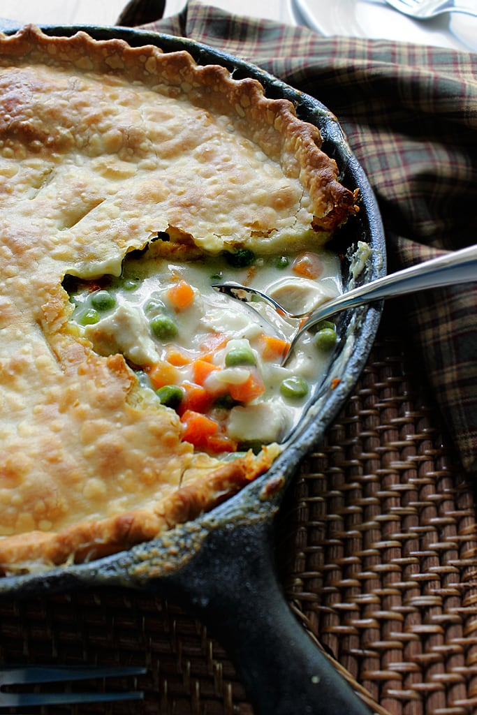 This recipe for skillet chicken pot pie uses one pre-made pie crust as a healthier way to enjoy this classic comfort food.