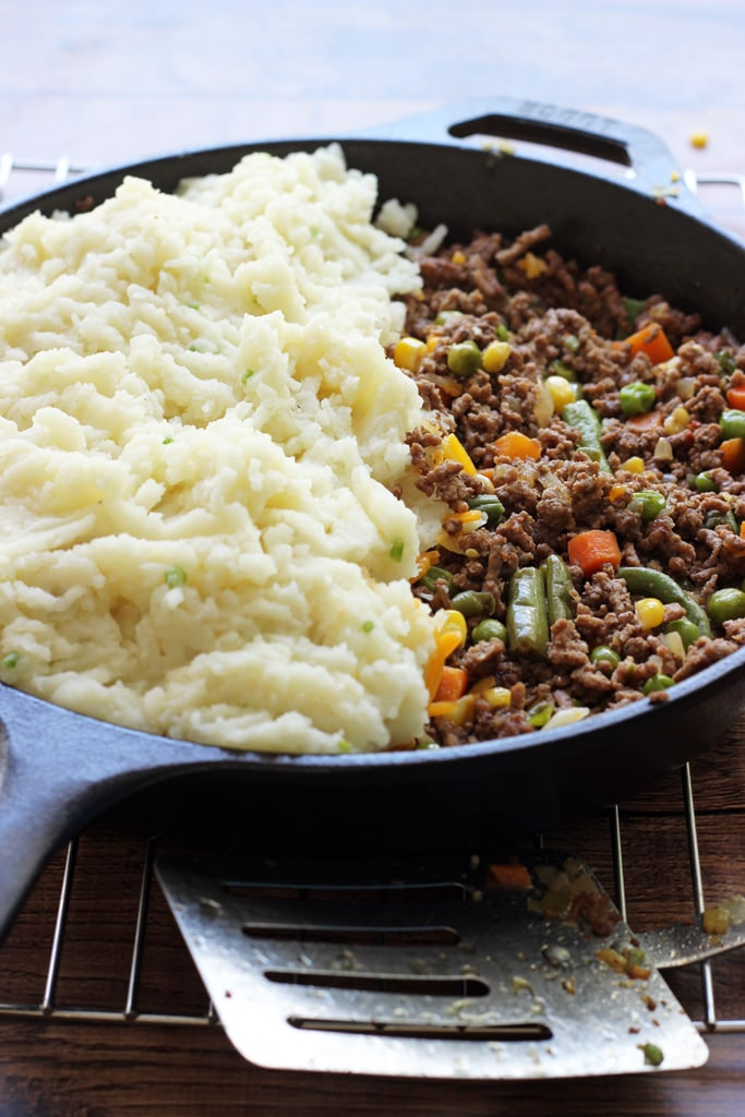 Skillet Shepherd's pie is a great way to enjoy the classic in a one pot: with a beefy base, cheesy middle and topped with a layer of fluffy mashed potatoes.