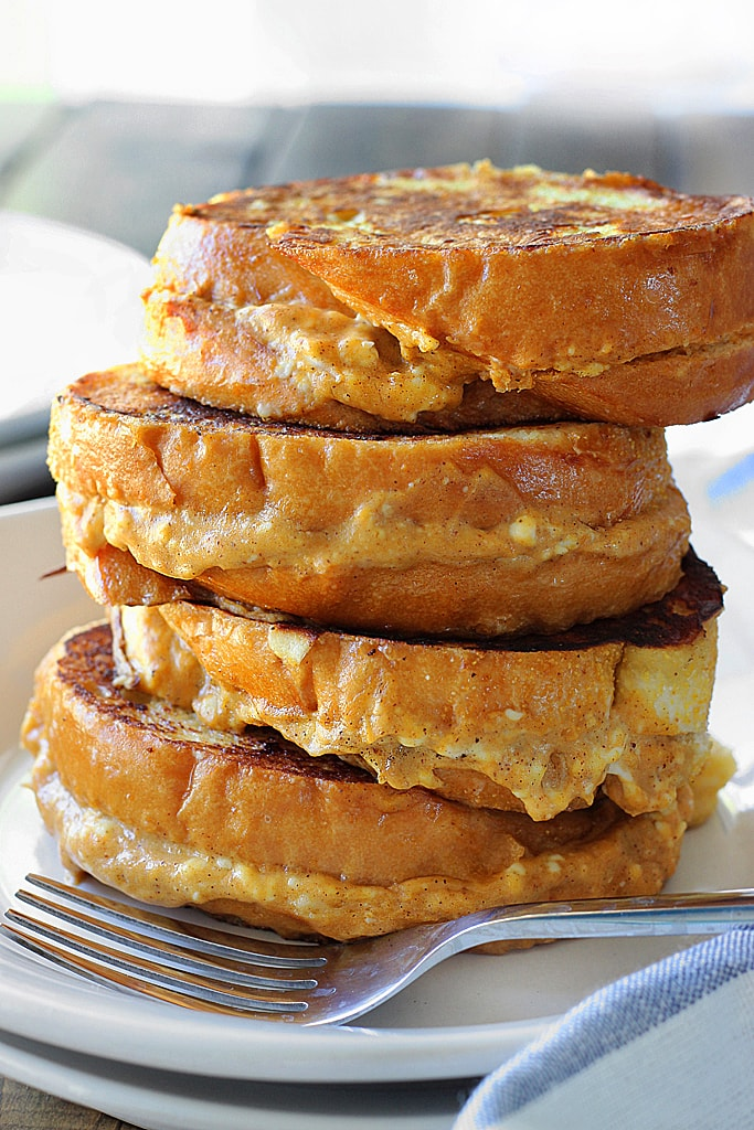 pumpkin cream cheese french toast is a fun way to celebrate pumpkin ...