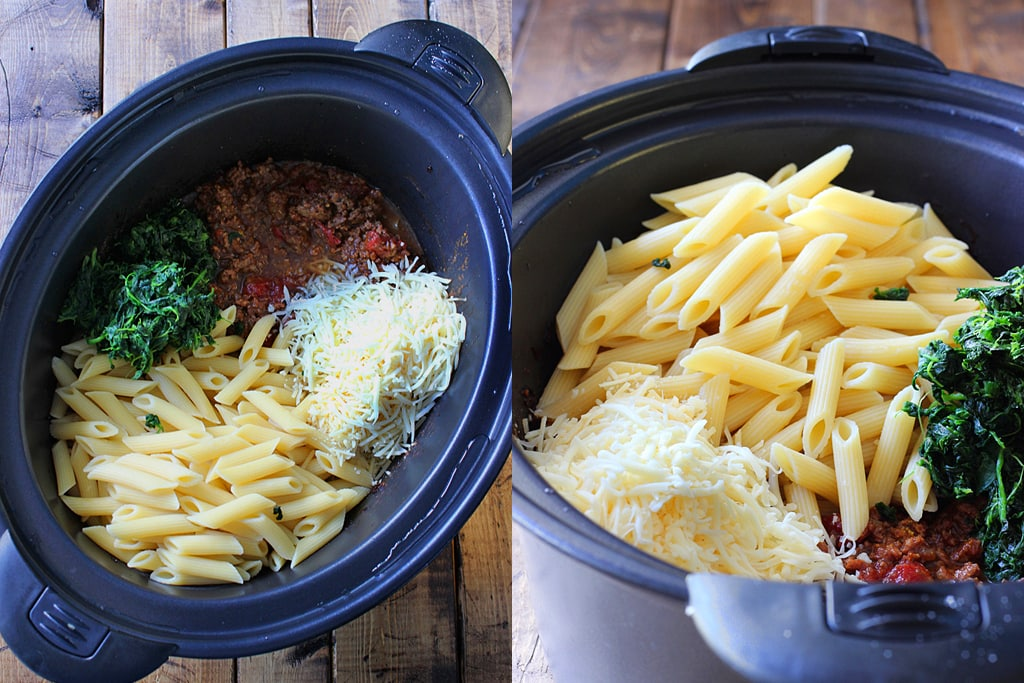A Slow Cooker Beef And Cheese Pasta That Is Cooked Long To Bring Out