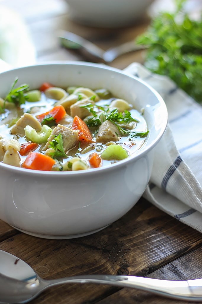One pot chicken noodle soup is a quick and easy, comforting fix for a case of the sniffles. Ready in 30 minutes!