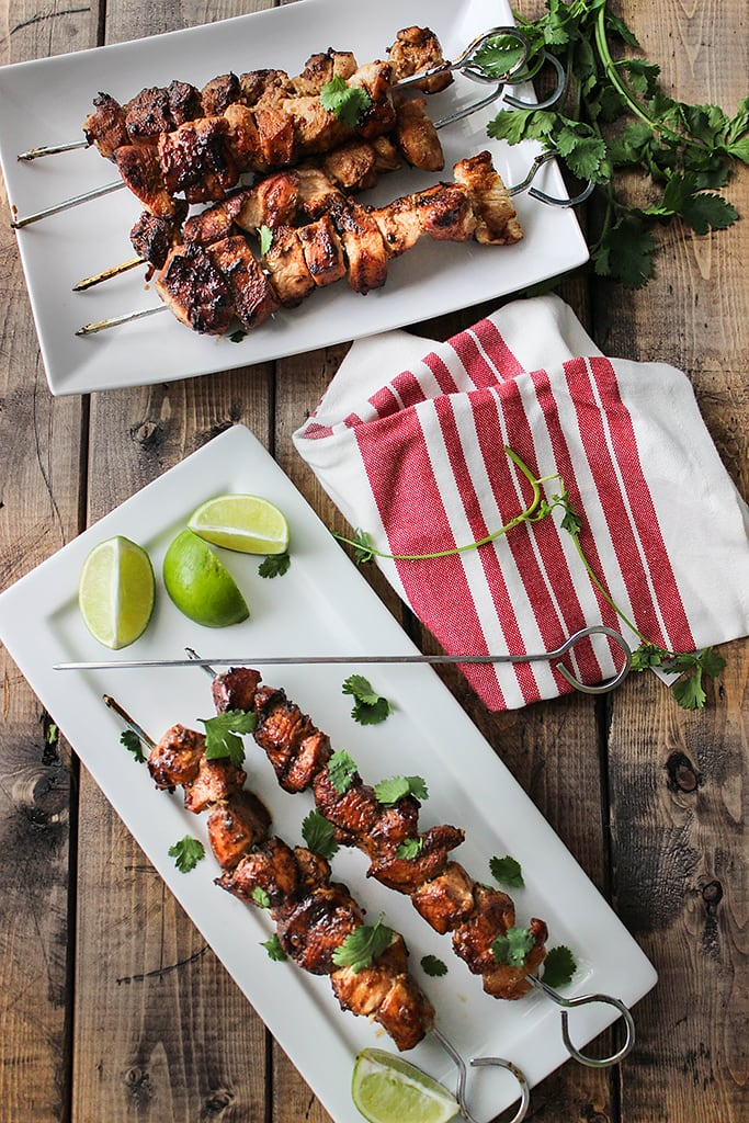 A savory and sweet marinade and baste makes these easy honey garlic chicken skewers perfect for cookouts!