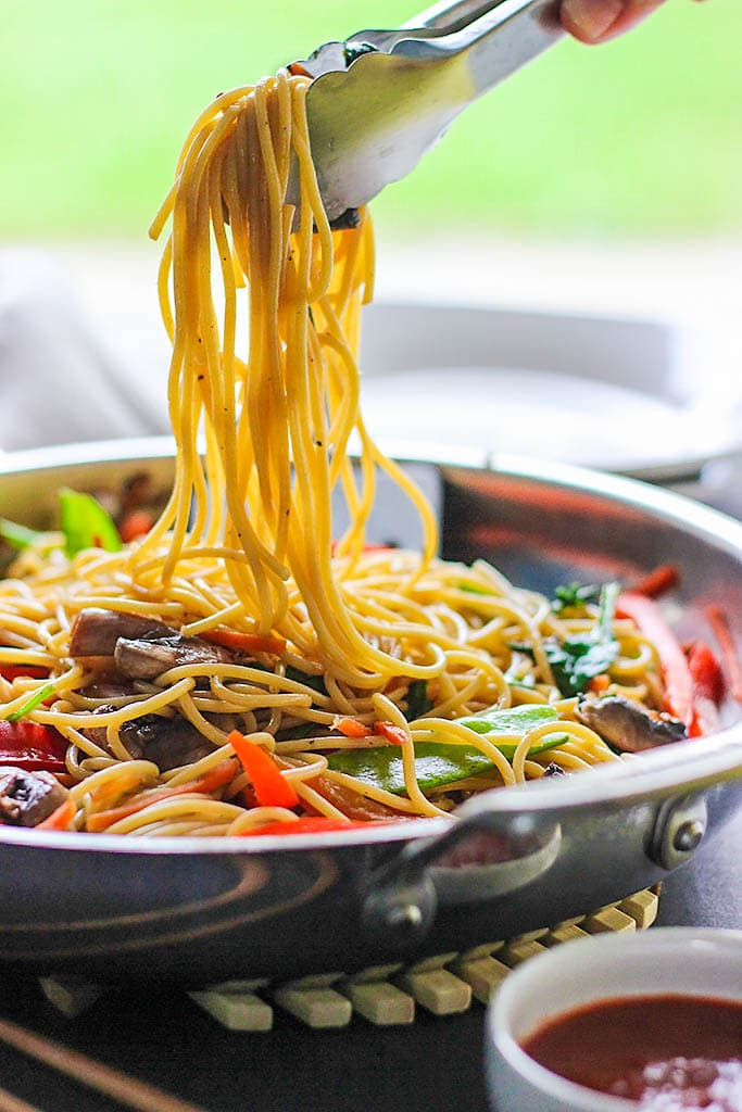 Skip takeout and make this easy vegetable lo mein at home! With easy to get store-bought ingredients.