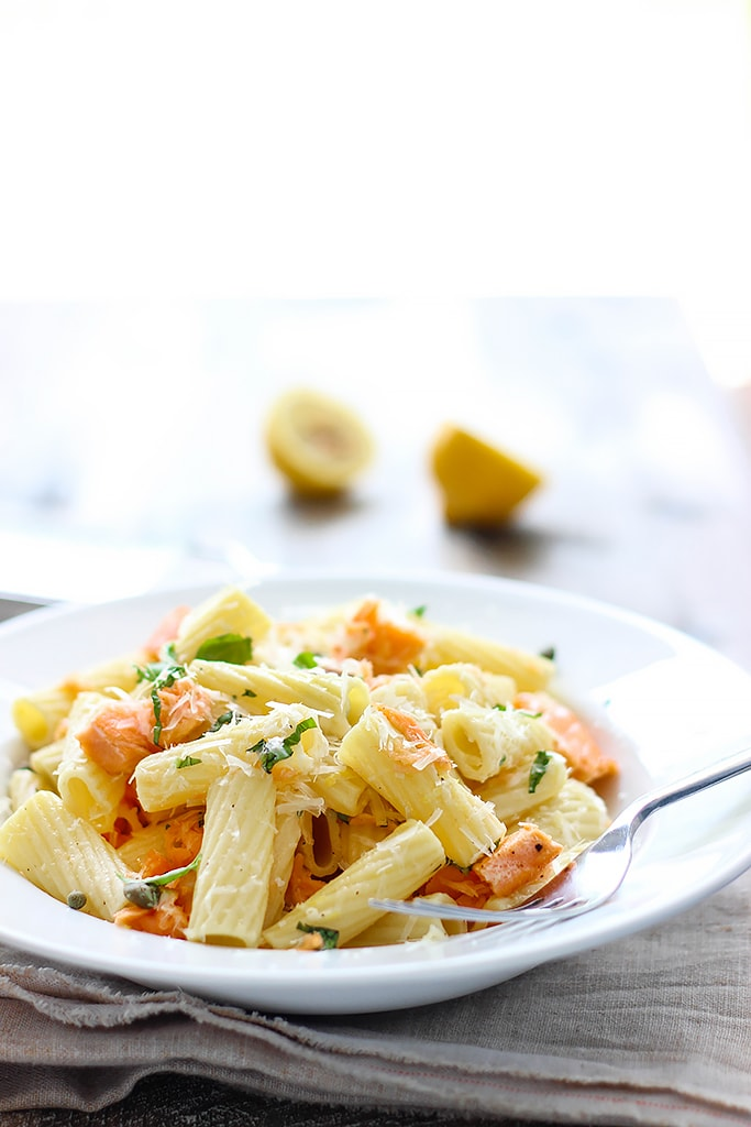 Get into summer full swing with this light lemon garlic pasta with salmon. Full of fresh, summer flavors!