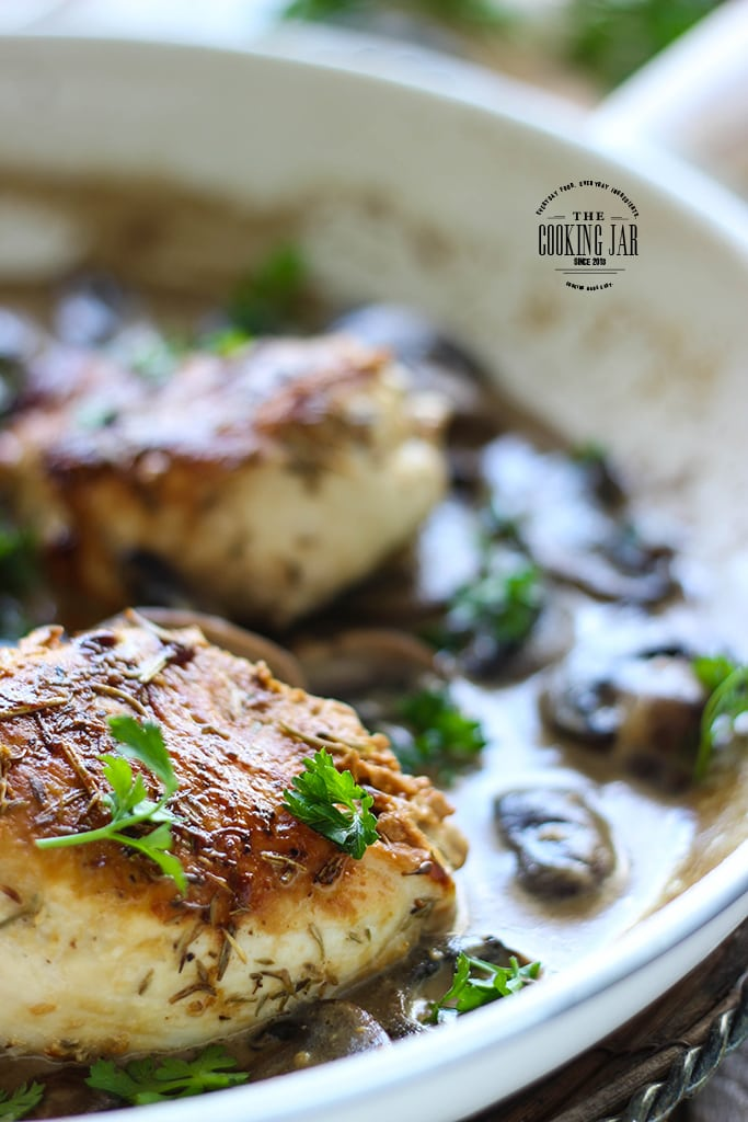Enjoy dinner with these herbed pan-seared chicken breasts in creamy mushroom sauce. Serves 4 and ready in 30 minutes.